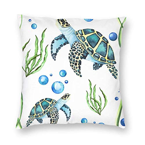 Lsjuee Watercolor Turtle Sea Ocean Marine Animal Pattern 18x18 Inch Velvet Square Throw Pillow Case Decorative Durable Cushion Slipcover Home Decor Standard Size Accent Pillowcase Slip Cover