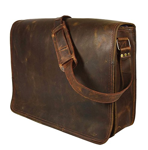 KK's Leather 15 Inch Genuine Leather Bags Handmade Vintage Bags Rustic Crossbody Bags Messenger Bags Courier Satchel Bag Gift Men Women ~ Carry Laptop Computer Book ~ Rugged & Distressed ~ By KK's Bag