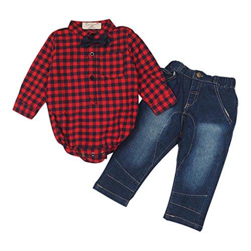 kingko® 1Réglez Infant Toddler Bébés garçons Grille Imprimer manches longues T-shirt Tops + Pantalons Tenues Vêtements (18M)