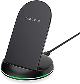Yootech Wireless Charger Qi-Certified 10W Max Wireless Charging Stand, Compatible with iPhone 11/11 Pro/11 Pro Max/XS MAX/XR/XS/X/8/8 Plus, Galaxy Note 10/Note 10 Plus/S10/S10 Plus/S10E(No AC Adapter)