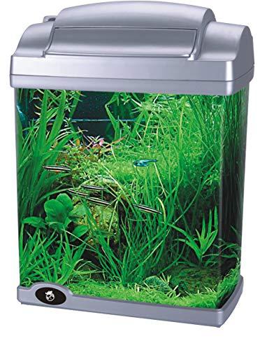HAILEA FC -200 GARNELEN Aquariumset NANO Aquarium 6,6 L KOMPLETT SILBER