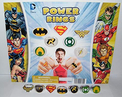 Batman Superman Justice League Superhero Logo Power Ring Toy Set of 7 with Aquaman, Wonder Woman, Flash and Bonus Logo Tattoo!