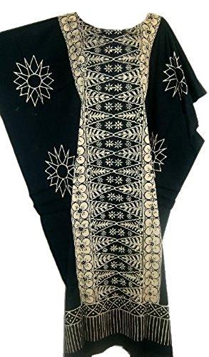 Cool Kaftans Damen Bluse Malaya Schwarz Violett Rot Feiner Batikdruck Baumwolle Strandkleid Übergröße Übergröße, Schwarz