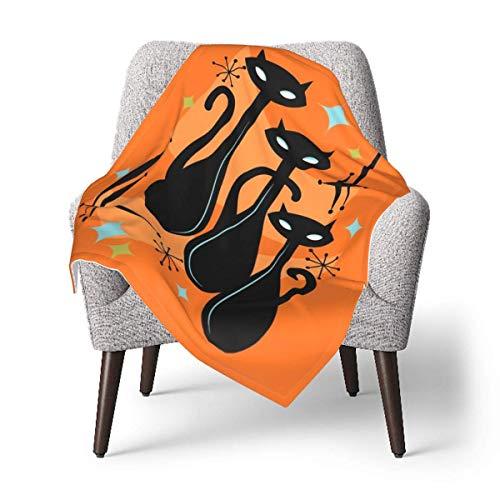 Hdadwy Manta de tiro para niños, efervescente naranja Atomic Age Black Kitschy Cat Trio Manta de bebé manta de felpa suave para niños y niñas, manta de recepción de 30 x 40 pulgadas