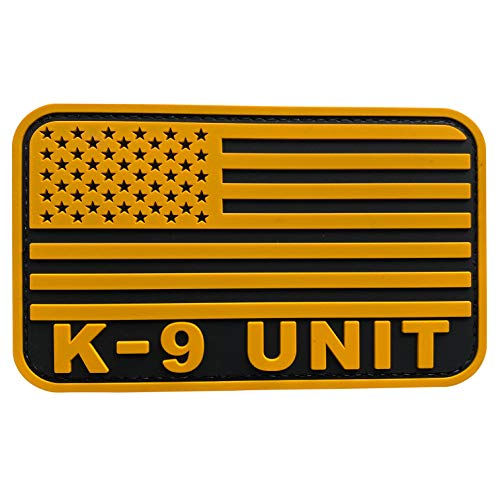 uuKen Large US Flag Patch Tactical K9 Unit 3x5 inches Black and Yellow Retired Combat Military Veteran Patch for Tatical Vest Backpacks (Yellow, L5'x3')
