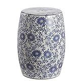 Jonathan Y TBL1009A Lotus Blossom 17.5' Chinoiserie Ceramic Drum Garden Stool, Blue/White