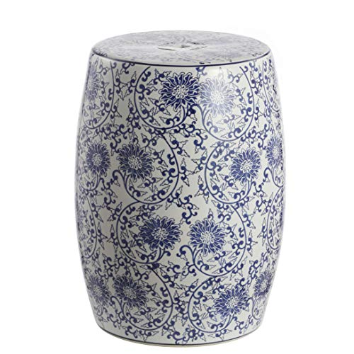 "Lotus Blossom 17.5"" Chinoiserie Ceramic Drum Garden Stool, Blue/White - JONATHAN Y TBL1009A"