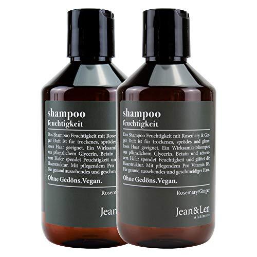 Jean & Len Shampoo Feuchtigkeit, Rosemary & Ginger, Feuchtigkeitsspender für trockenes, sprödes Haar, ohne Parabene und Silikone, 300 ml, 2er Pack 2903100101