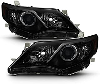 For Black Smoke 12-14 Toyota Camry Projector Headlights Front Lamps Direct Replacement Left + Right