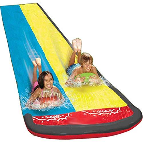 LIUCHANG Toboganes de Agua de césped Silp Slide for niños, Doble Agua Diapositiva Play Piscina Juegos de Piscina Partido al Aire Libre Juguetes de Agua liuchang20