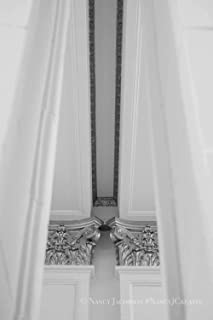 Architecture Print Unframed Black and White Photography Ornate Ceiling Supports Linear Zen Symmetry Portland State University Photo Grey Silver Abstract Design