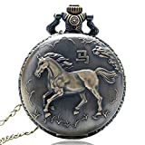 Reloj de bolsillo vintage, de bronce con caballos, reloj de bolsillo de cuarzo para mujeres y hombres, colgante reloj de bolsillo regalo - JLySHOP
