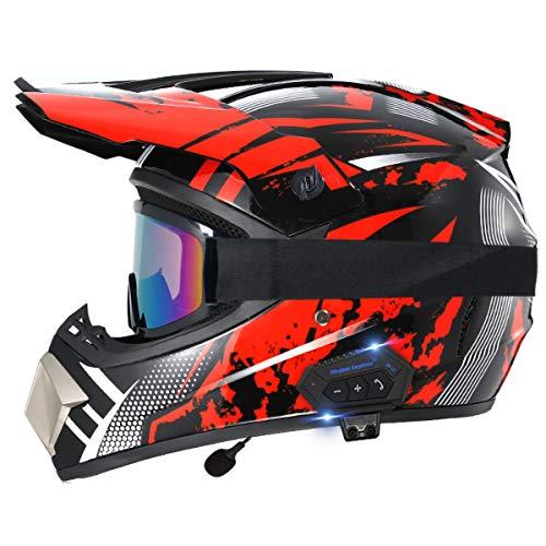 TKTTBD Casco de Motocross Bluetooth para Motocicleta, Juego de Cascos Todoterreno de Carreras callejeras, Casco Integral de Descenso Deportivo Doble, Casco de Motocross ATV MX Certificado Dot A,S