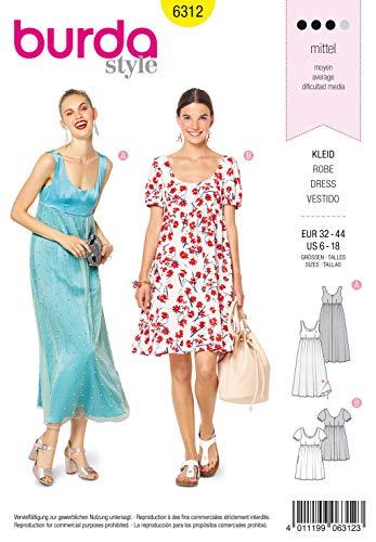 Burda Schnittmuster 6312, Kleid [Damen, Gr. 32-44] zum selber nähen, ideal für Fortgeschrittene [L3]