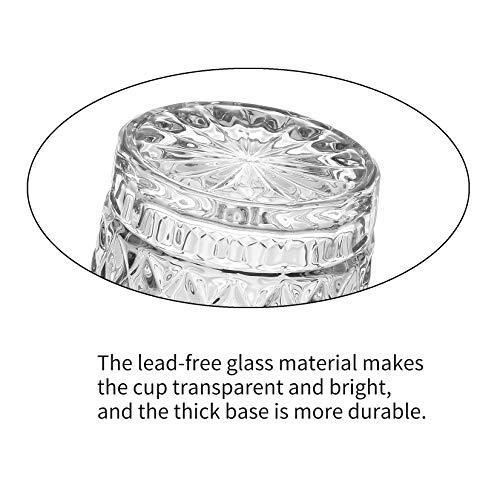 Amisglass Juego de Vaso de Whisky, Vaso Set 4 Piezas de Cristal Sin Plomo para Whisky, Vino, Vaso Clásica para Licores Whisky con Cuerpo Grabado, Cócteles y Jugo - 300 ml