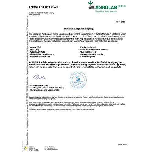 GREEN LEAN MARINE® Astaxanthin hochdosiert | 90 Astaxanthin Kapseln | Astaxanthin 4mg | Antioxidant Astaxanthin natürlich, aus reiner Haematococcus Pluvialis Mikroalge | Softgel Kapseln | Vegan