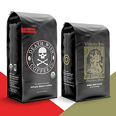 DEATH WISH Coffee - The World's Strongest Coffee [1 lb] and VALHALLA JAVA Odinforce Blend [12 oz] Whole Bean Coffee in a Bundle/Bulk/Gift Set | USDA Certified Organic, Fair Trade | Arabica and Robusta Beans