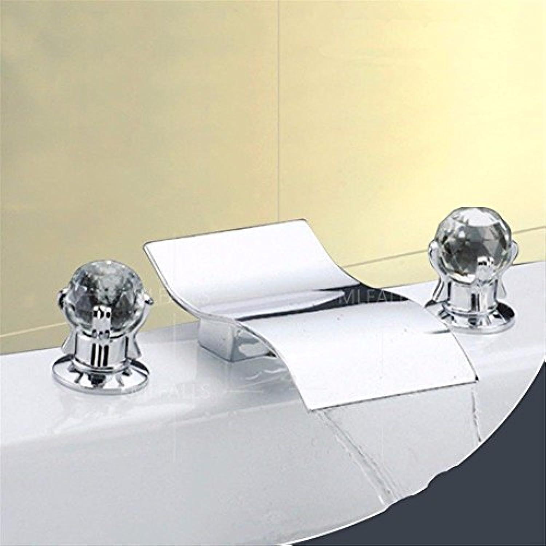 Lalaky Waschtischarmaturen Wasserhahn Waschbecken Spültisch Küchenarmatur Spültischarmatur Spülbecken Mischbatterie Waschtischarmatur Kristall Heier Und Kalter Drei-Loch-Doppelgriff