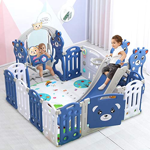Leadmall Baby Playpen with Slide Swing Fence Crawling Mat | Lock Door Indoor Playground Playset Toddlers Large Safety Playard Activity Center for Boys Girls Gift (Blue, from US)