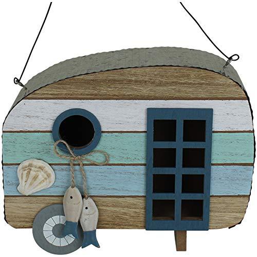 TW24 Vogelhaus Holz Wohnwagen mit Modellwahl Nistkasten Vogelfutterhaus Futterhaus Futterstelle für Vögel Vogelfutterstation (Muschel)