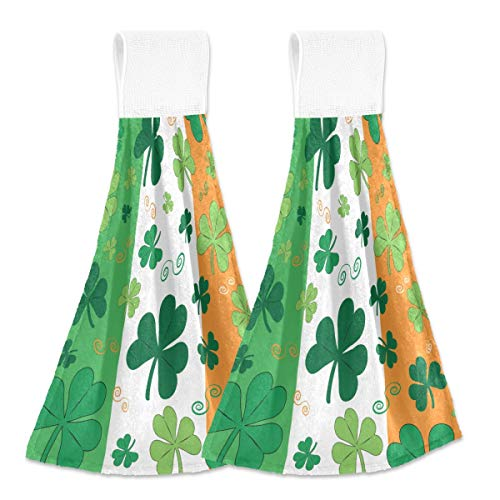 Toallas colgantes de cocina 2 piezas – Trabrocas colgantes de terciopelo suave coral súper absorbentes Toallas de mano para el barro.