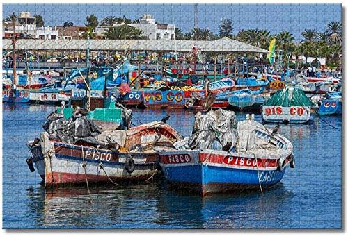 Adultos Puzzle 1000 Piezas- Barcos de Pesca Pisco Perú Rompecabezas para Adultos Niños 1000 Piezas Juego de Rompecabezas de Madera para Regalos Decoración del hogar Recuerdos Especiales de Viaje