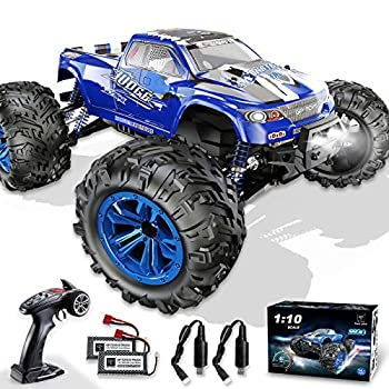 Soyee RC Cars 1 10 Scale RTR 46km/h High Speed Remote Control Car All Terrain Hobby Grade 4WD Off-Road Waterproof Monster Truck Electric Toys for Kids and Adults -1600mAh Batteries x2