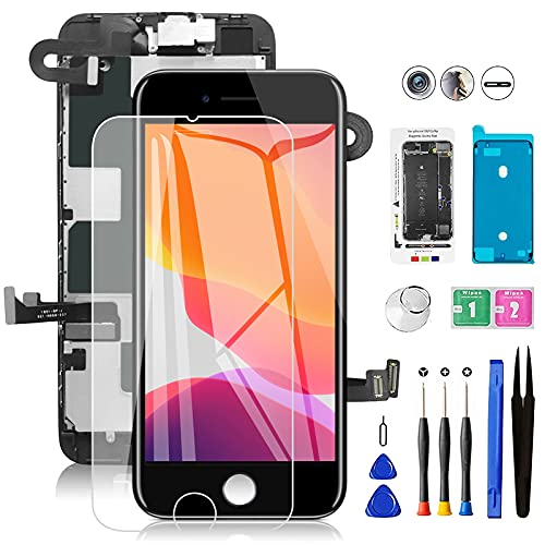 for iPhone 8 Screen Replacement Black with Front Camera+Ear Speaker Mobkitfp 4.7 inch Full Assembly LCD Display Digitizer Sensors+Waterproof Seal+Repair Tools+Screen Protector for A1863, A1905,A1906