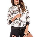 Katenyl Chaqueta de uniforme de béisbol para mujer, estampado de moda, manga larga, informal, con cremallera,...