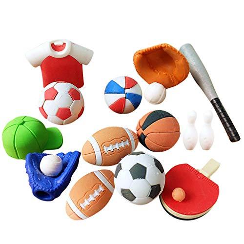 Toyvian 50 Stück Fußball Basketball Geformte Radiergummis Kreative Bleistift Radiergummi Studenten Geschenk Briefpapier