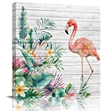 Mi Chanker Tropic Plants Flowers Green Palm Leaves with Flamingo Canvas Wall Art Oil Painting Wooden Texture Home Decor Print Artwork for Bedroom Living Room Stretched and Framed Ready to Hang 8x8in
