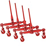 Aain EI002A4 Ratchet Load Binders, 5/16-3/8'' 4 Pack, Red