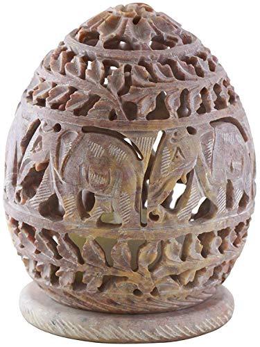 Portavelas Indus Lifespace de 10,16 cm con Elefante Tallado a Mano y tendriles, Figuras de Elefante de esteatita – Centro de Mesa Decorativa para el hogar