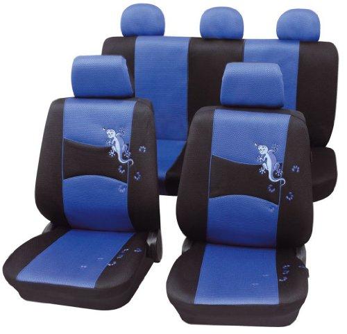 Cartrend 60220 Gecko Mesh Sitzbezug-Komplettset, Blau, mit Dokunaht