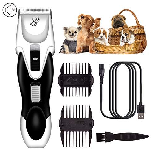 JJIIEE Perro Clippers Juego, Conjunto Recargable y estética para Mascotas Perro Clippers máquina de Afeitar de Pelo de Poco Ruido inalámbricos maquinillas eléctricas para Mascotas Perros Gatos