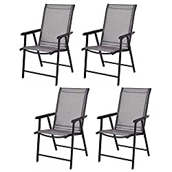 professional Giantex 4-pack portable folding chair for camping, beach, terrace, dining chair …