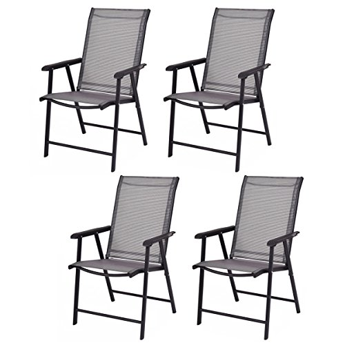 Giantex Set of 4 Patio Dining Chairs, Outdoor Chairs, Portable Folding Chairs for Camping Pool Beach Deck, Lawn Chair with Armrest, 4-Pack Patio Chairs, Metal Frame, Grey