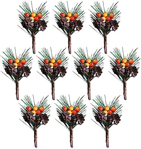 Navidad Artificiales piñas, arreglos Artificiales de Flores del árbol de Pino de Navidad y Las Decoraciones de Vacaciones (20 Piezas) (Color : Multicolor, Size : A1)