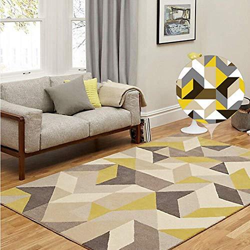 DROB The Rug House Milan Ocre Amarillo Mostaza Gris Beige con Raya triángulos arlequín Tradicional Alfombra de salón,200×300cm