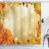 Lunarable Duschvorhang mit abstraktem Bokeh-Hintergr& mit Ahorn-Espenblättern & Kürbis-Rahmen, Stoff-Baddekor-Set mit Haken, 213 cm extra lang, Orange Gelb Grün