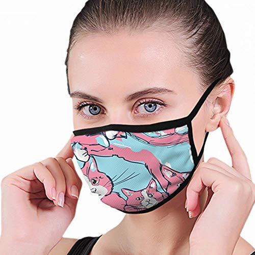 Cat Wasbaar herbruikbaar mondmasker katoen anti-stof half gezicht mondmasker stofdicht met verstelbare oorlussen