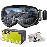 OutdoorMaster Kids Ski Goggles - Helmet Compatible Snow Goggles for Boys & Girls with 100% UV Protection (Black Frame + VLT 10% Grey Lens with REVO Silver)