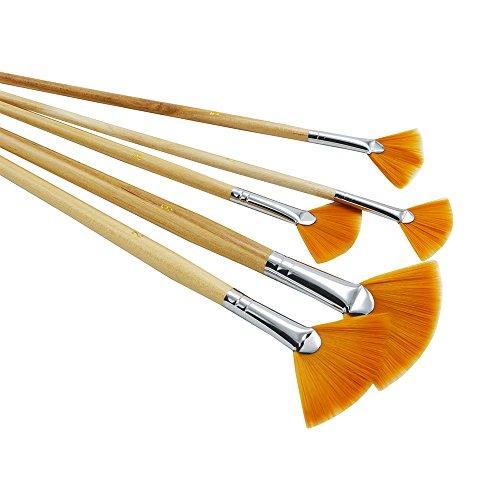 ZHOUXINXING 5Pcs/Set,Fan-Shaped Nylon Hair Short Wood Rod Brush Painting Drawing Supplies