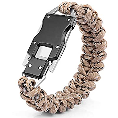 HNYYZL Paracord Knife Bracelet Survival Cord Bracelets, 1 Pack Upgrade Tactical EDC Paracord Bracelet para Claw Knife Bracelet Emergency Gear kit, for Outdoor Camping Hiking (Camouflage Brown)