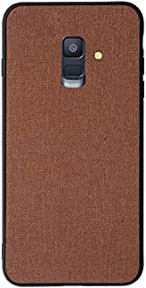 Protective Case Compatible with Samsung Samsung Galaxy A6 Case, Fabric Cloth Style 2 in 1 Soft Side All Inclusive Protective Cover Phone Back Case Phone case (Color : Brown)