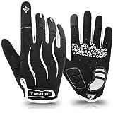 HNOOM Fahrradhandschuhe Vollfinger MTB Handschuhe rutschfeste und Stoßdämpfende Touchscreen Handschuhe Herren Damen Radsporthandschuhe für Radsport Mountainbike Road Race Downhill Wandern (Weiß, XL)