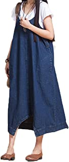 Miyarooma Women Denim Dresses Baggy Casual Plus Size Pants Harem Overalls Jumpsuit