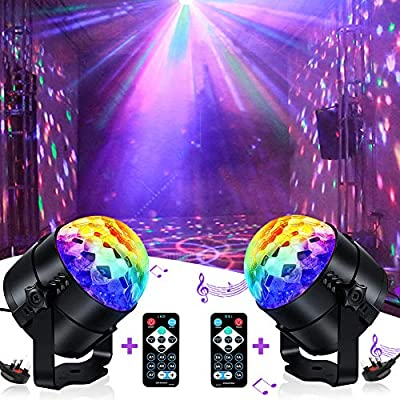 Disco Lights, iToncs Sound Activated Party Lights with Remote Control Disco Ball Lights for Kids (2 Pack)