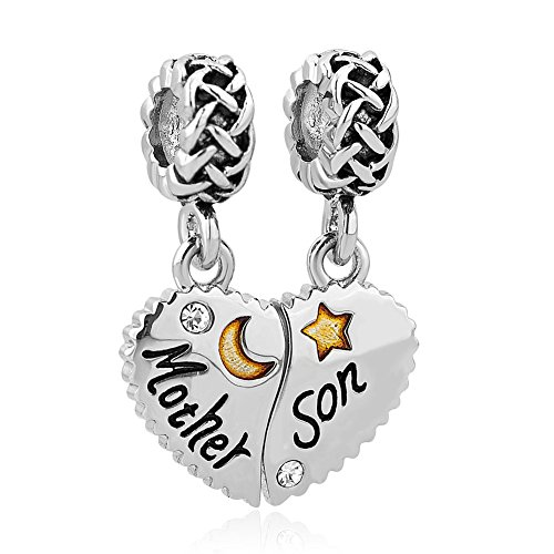 CharmSStory Heart Love Mom Mother Daughter Son Charm Dangle Beads Charms for Bracelets (Mother Son 02)