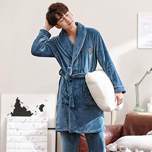 DFDLNL Parejas Camisón Grueso Coral Fleece Hombre Albornoz + Pantalones 2 Piezas Kimono Pijamas Bata de Mujer Amantes del Servicio a Domicilio Homewear XXXL LX-98326